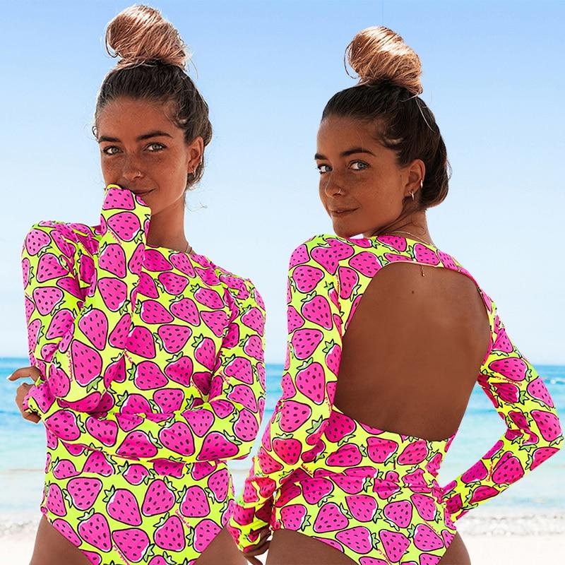 2021 New Arrival Women's Swimsuit Surf SwImwear Long Sleeves UV Protection Beachwear Female Backless Florial Print Bathing Suit