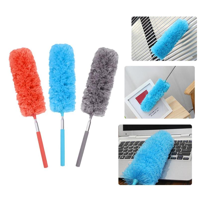 1pc microfiber telescoping car body duster wax dust mop cleaning brush cotton nanofiber car microfiber dust grey brush 13 5x40cm Microfiber Duster Brush Extendable Hand Dust Cleaner Anti Dusting Brush Home Air-condition Car Furniture Cleaning
