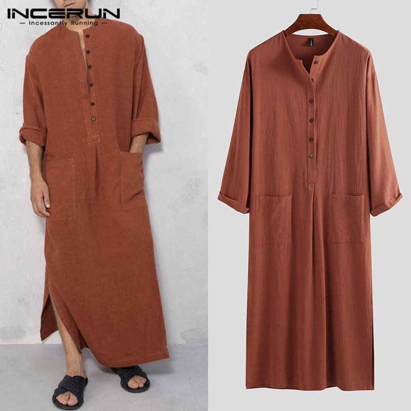 INCERUN Vintage hombres islámico árabe Jubba Thobe manga larga sólido bolsillos batas hombres Arabia Saudita Vestido tipo abaya musulmana Kaftan 2020