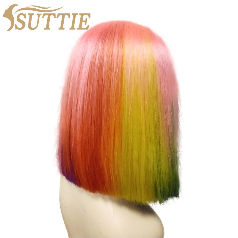 Suttie Real Hair 13x4 Lace Front Wigs Rainbow Color Human Hair Highlight Brazilian 4x4 Lace Closure Bob Wig For Black Women