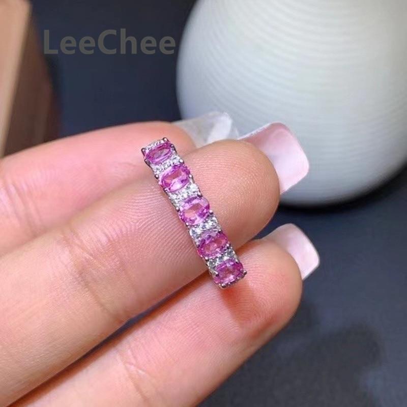 خاتم من الفضة الإسترليني والياقوت الوردي للنساء ، خاتم ، 925 فضة استرلينية ، حجر طبيعي ، 3x4 مللي متر ، جوهرة فاخرة ، الذكرى السنوية ، 5 قطع