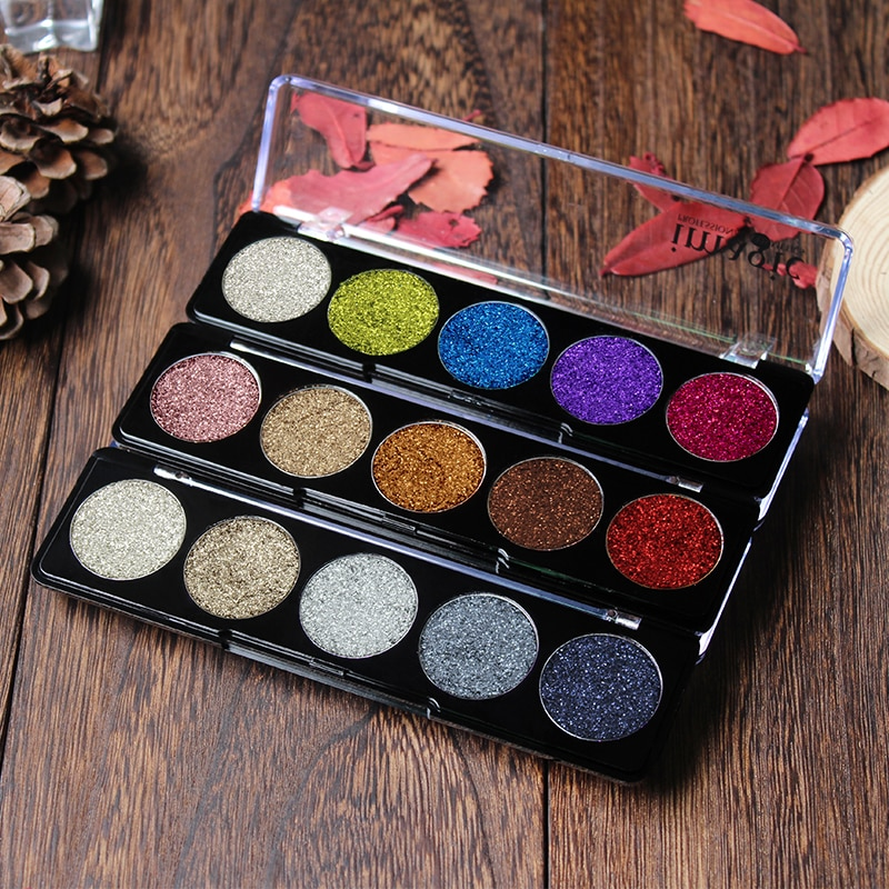 Imagic-paleta de sombra de ojos, 5 colores, paleta de sombra de ojos de Color arcoiris de diamante, polvo de brillo metálico