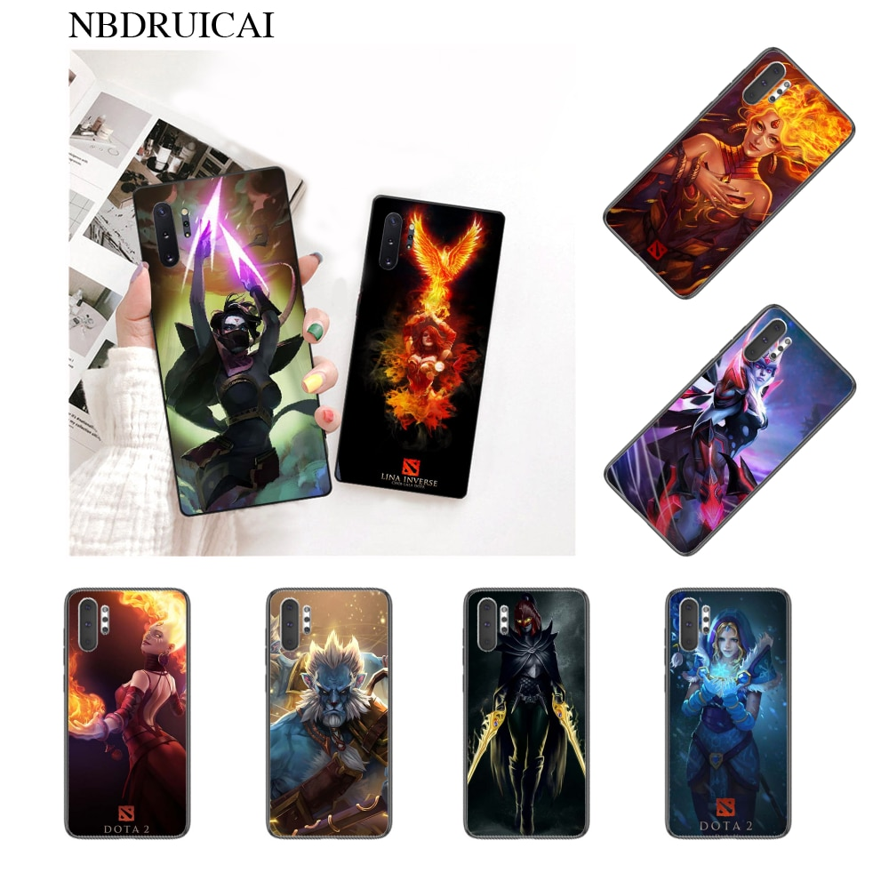 NBDRUICAI Dota 2 Heros Cover Black Soft Shell Phone Case for Samsung Note 3 4 5 7 8 9 10 pro M10 20 30