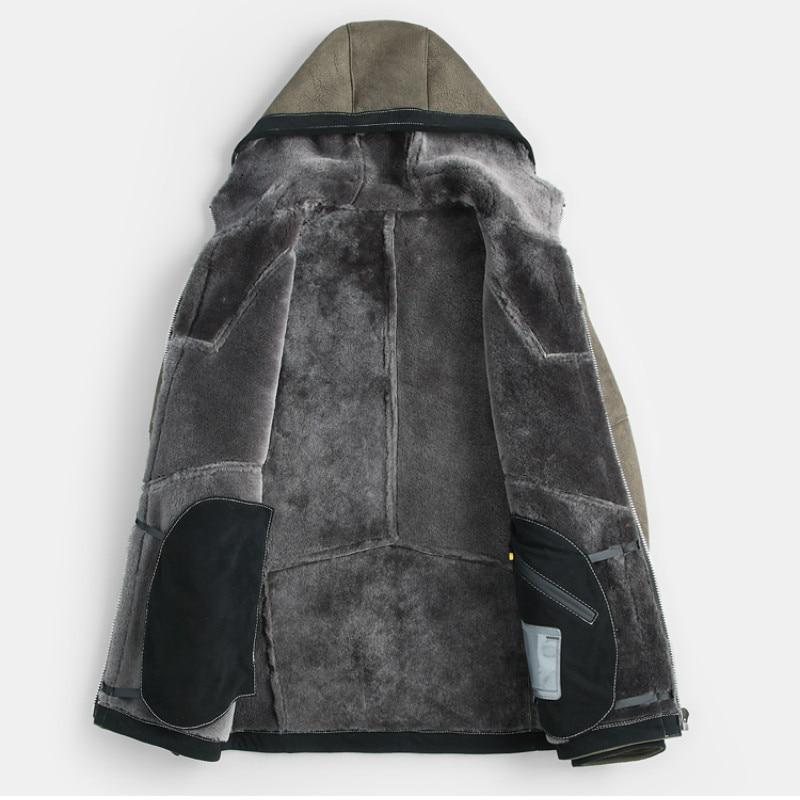 Mens Jacket one Men's New Sheepskin Coat Winter Short Fur Hooded B3 Flying Air Force Genuine Leather Jackets