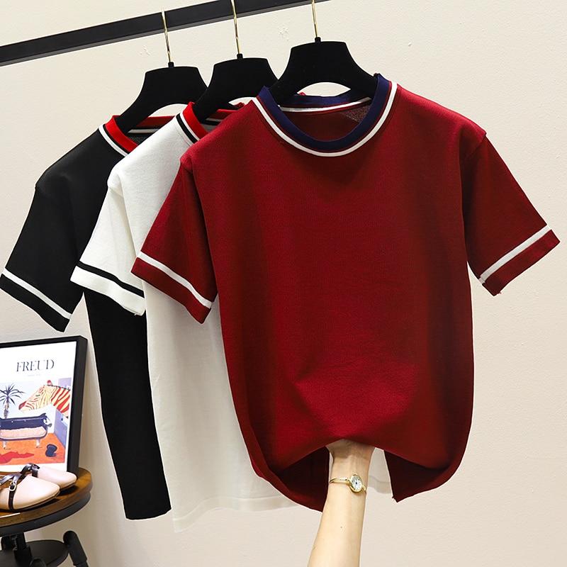 Free Shipping Summer Women T Shirt Fashion Knitted Short Sleeve Tees Top O-Neck Female Casual T-shirt