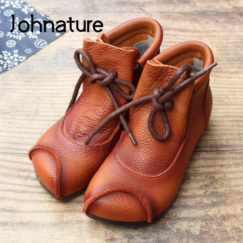 Женские ботинки на шнуровке Johnature, натуральная кожа, круглый носок, плоская подошва, шитые, ботильоны для женщин, 2021