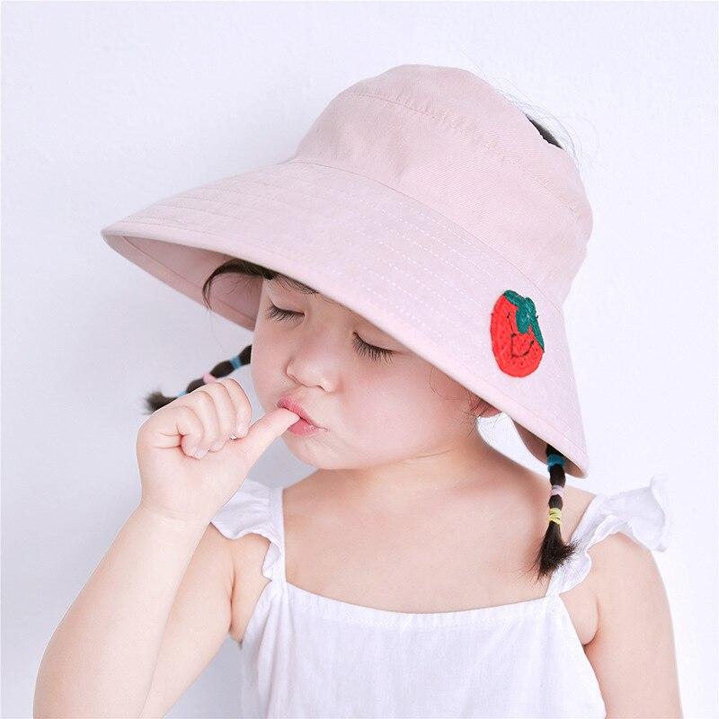 Oloey Baby Sommer Nette Stickerei Leere Top Hut kinder Obst Daisy Frosch Arten Plaid Sonnencreme Strand Caps Große krempe Hut