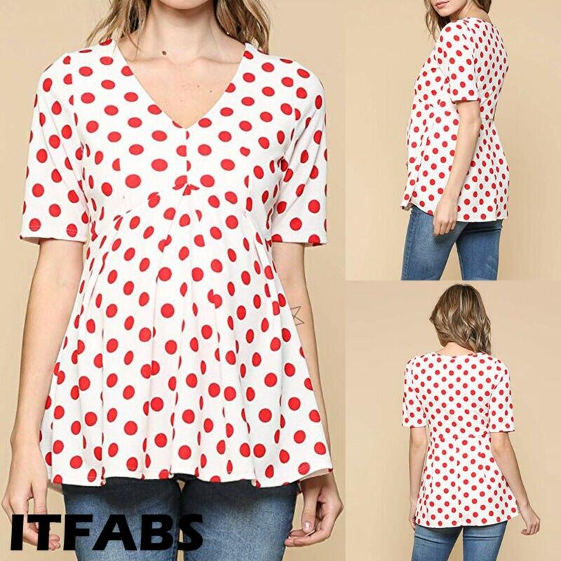 Ropa caliente para mujeres embarazadas blusa Polka Dot algodón hilado maternidad onda punto cuello en V manga corta verano Mujer Tops