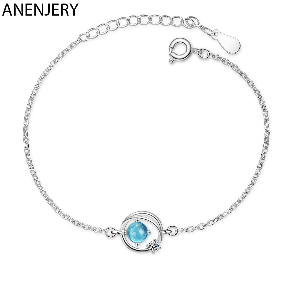 Pulsera anenjary Dream de cristal azul universo planeta estrella colgante Color plata circonita cadena brazalete para mujer S-B302