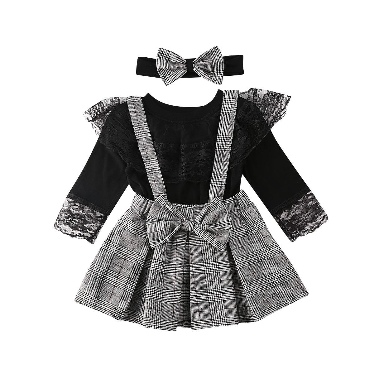1-6Y niña bebé ropa de bebé conjunto negro de manga larga de encaje camisetas + faldas a cuadros volantes trajes de primavera para niña