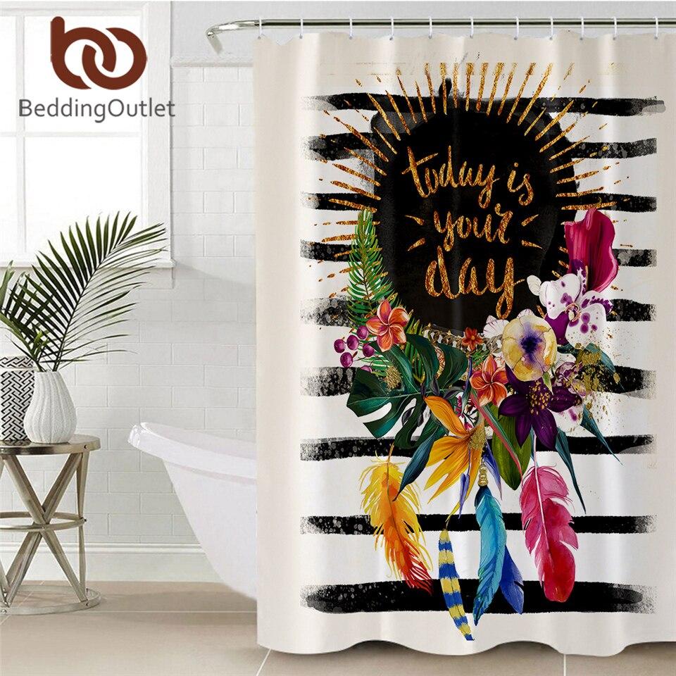 BeddingOutlet Floral Garland Shower Curtain Striped Pink Bath Curtain Flower Feathers Waterproof Bathroom Curtain Home Decor