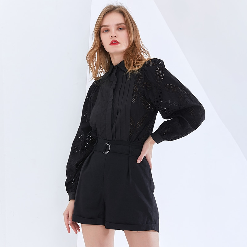 Stylish Casual Set For Women Lapel Long Sleeve Shirt High Waist Shorts Female Spring New Elegant Hollow Out Sets