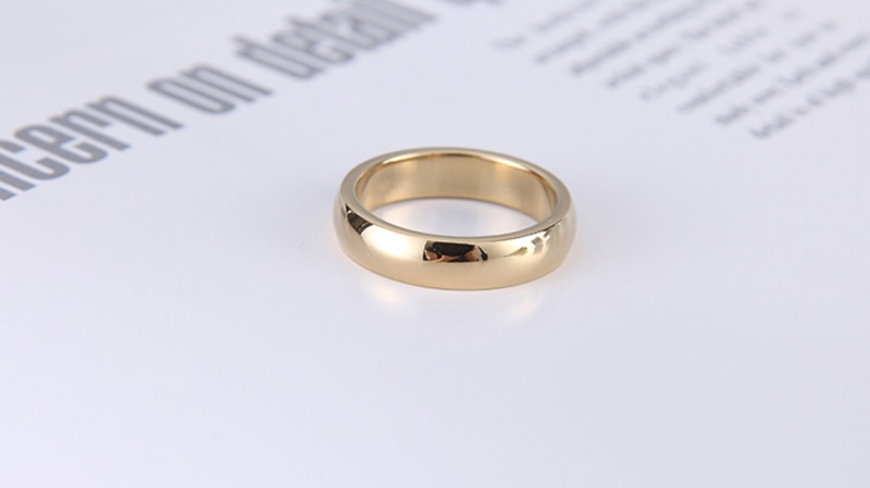 Yanleyu 18K Yellow Gold Filled Jewelry 18KGP Stamped Wedding Band Rings for Men and Women Couple Rings Anniversary Gift PR426