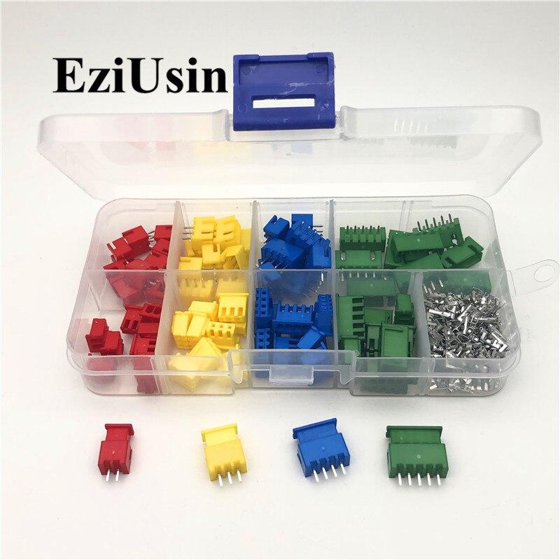 XH2.54 2/3/4/5p 2,5mm Terminal rojo azul amarillo carcasa Pin conector JST juegos de adaptadores de cable TJC3 2,54mm XHP 40/60sets