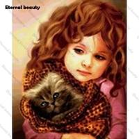 Peinture diamant fille et chat  perceuse carree ou ronde  5D  bricolage  broderie de diamant  point de croix  Kits de mosaique  strass  decoration de maison