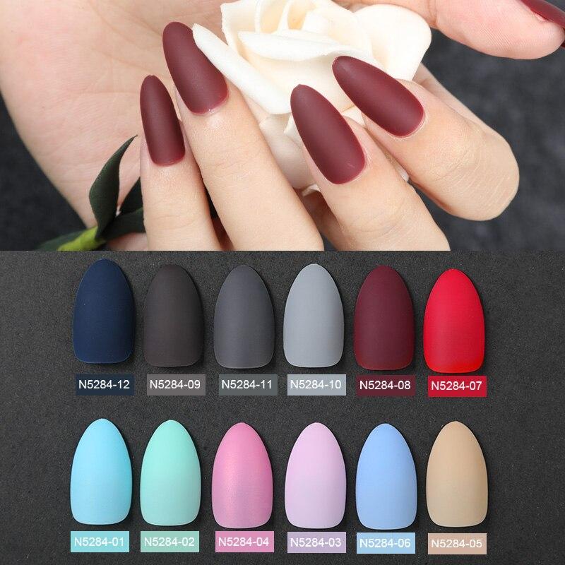 ROSALIND 24pcs Fake Nails Matte False Nail Art Decorations Extension Detachable Tips Manicure Press on Nail Women Faux Ongles