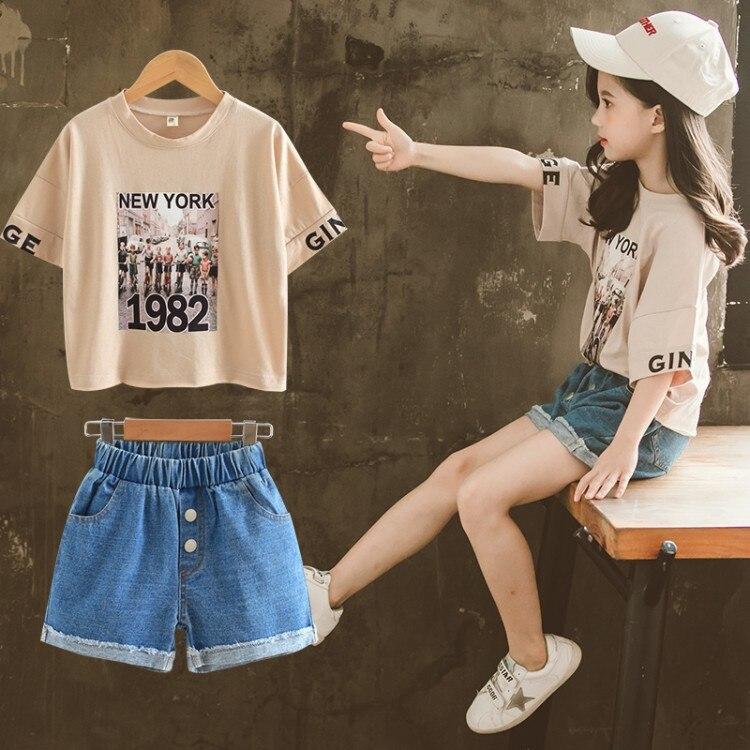 Conjunto de ropa de verano para niñas 2020 nuevo estilo chao yang Gas zhong da tong Shor de verano de dos piezas para niños