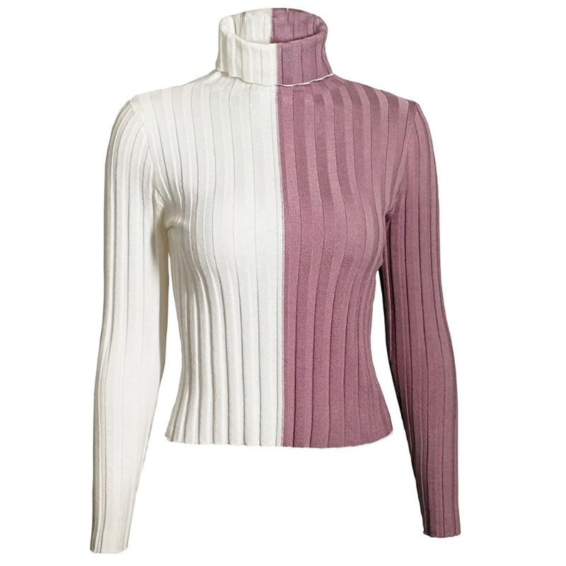 Women Long Sleeve Turtleneck Sweater Color Block Knit Slim Pullover Jumper Top enlarge