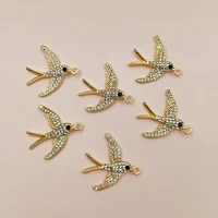 5 pcslot new pearl swallow rhinestone buttons alloy accessories necklace handmade cartoon childrens hair pendant full diamond