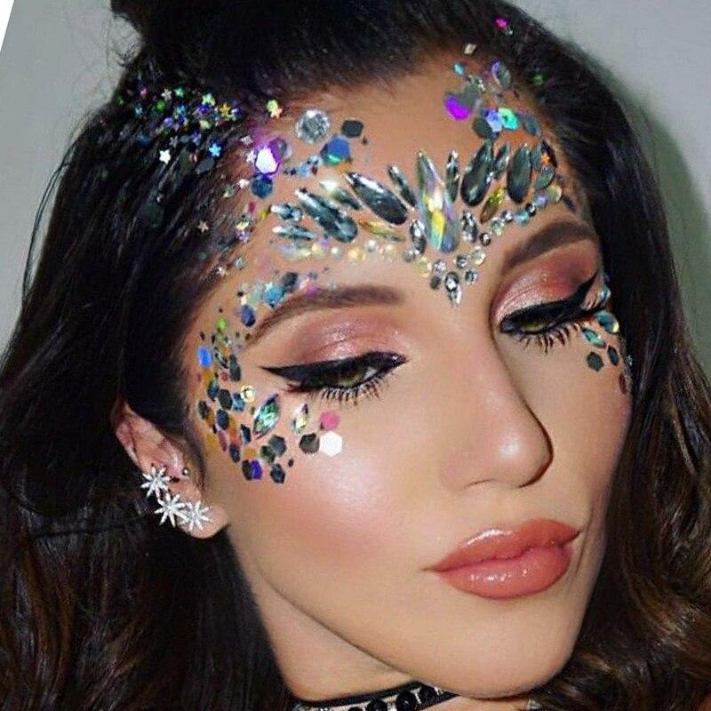 Adesivo rosto gemas strass jóias tatuagem festival festa corpo glitter adesivos corpo jóias pedras maquiagem applique acessórios