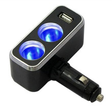Triple 1 to 2 Socket + USB Power Supply Car Charger Power Supply Double Adapter / Cigar Socket With