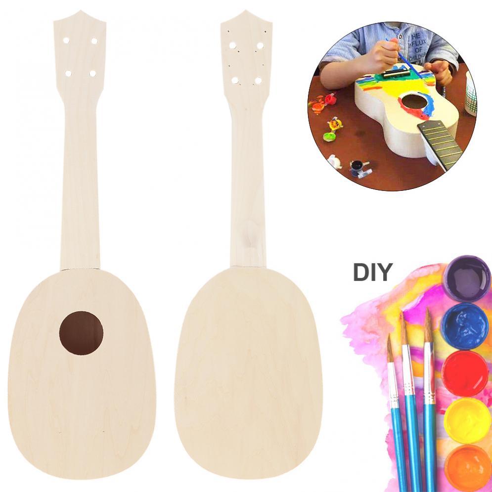 Soprano Ukulele 21 Inch Ukulele DIY Kit Pineapple Shape Basswood Hawaii Guitar for Handwork Painting Parents-child Campaign enlarge