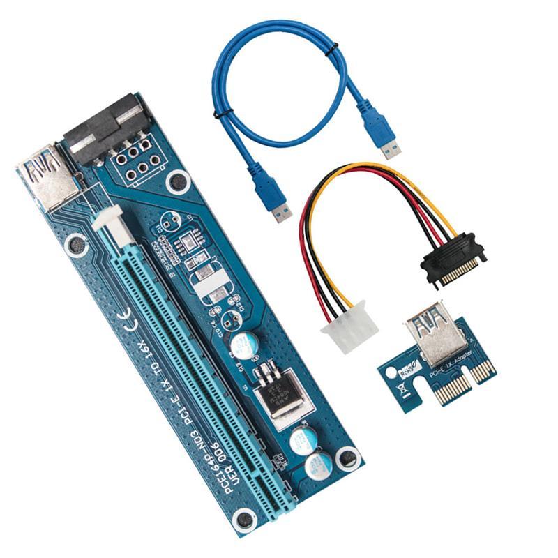 Power para Mineração x1 para X16 Pces Pci-e Riser Cartão 006 Pci Express Adaptador 0.6m Usb 3.0 Cabo Sata 4pin Bitcoin Mineiro 100 Ver006