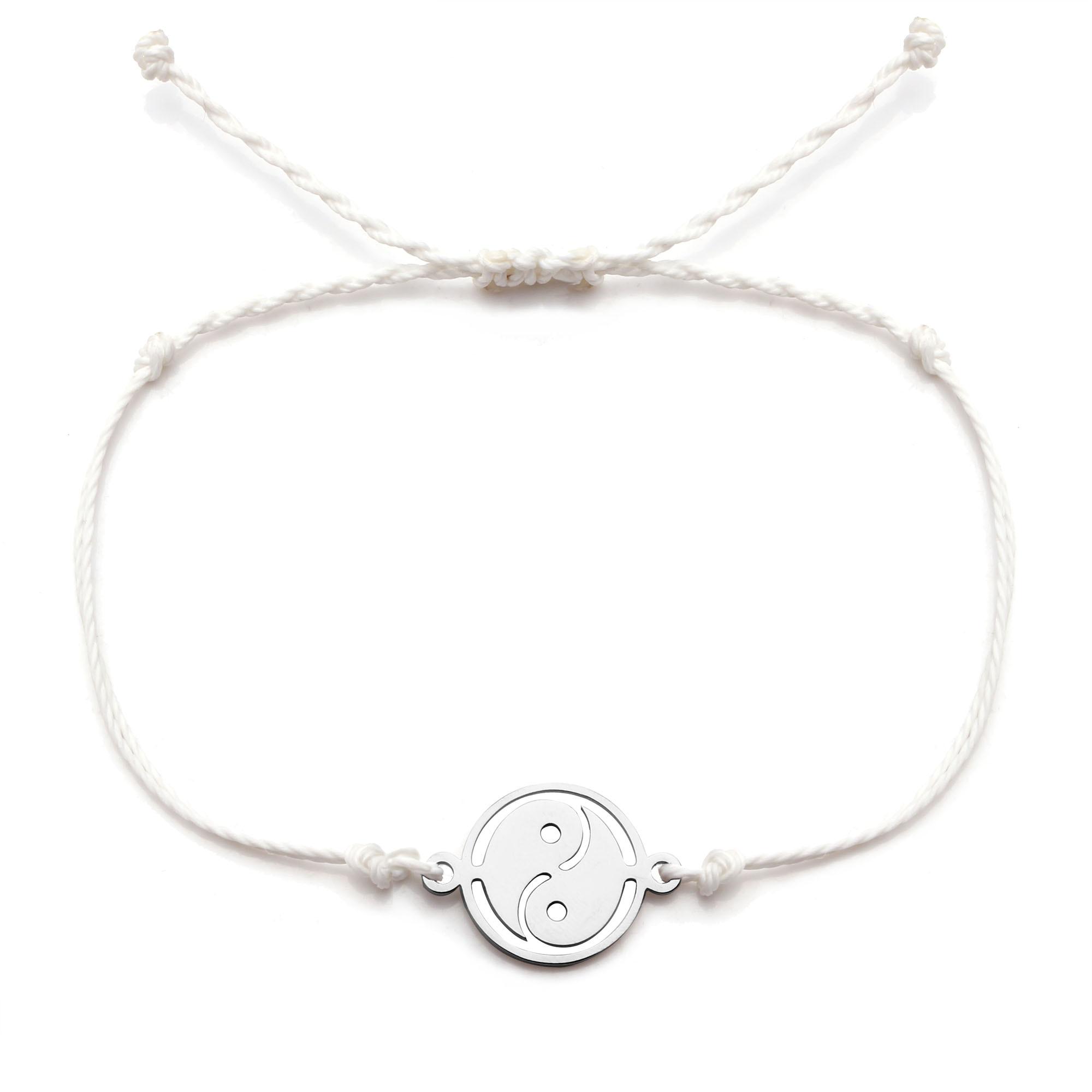 Pouco aço inoxidável tai ji yin e yang charme pulseira feminino branco azul preto cabo encerado artesanal jóias presente