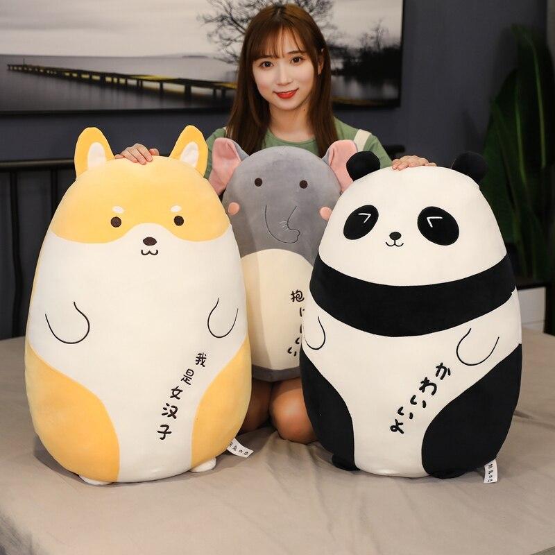 60/80cm Panda elefante Corgi cerdo juguetes de peluche suave bosque Animal almohadas de felpa muñecas decoración del hogar Kawaii niños niñas regalo