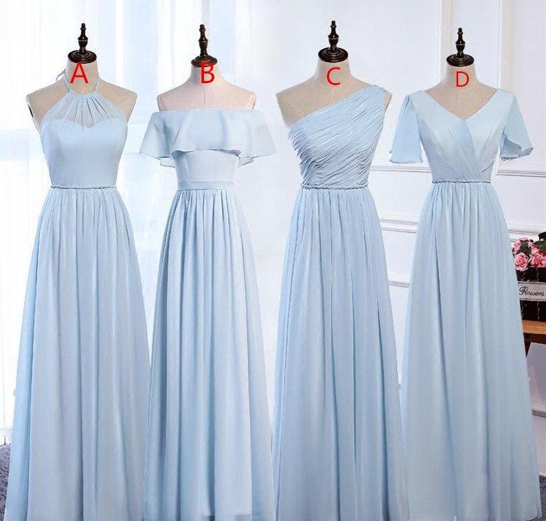 فستان لوصيفة العروس طويل من الشيفون باللون الأزرق مقاس كبير طول الأرض للكبار فساتين حفلات الزفاف Vestidos De Wedding