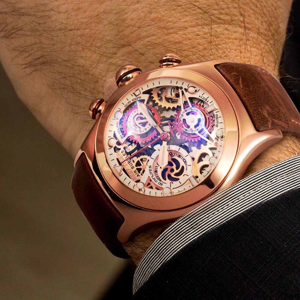 Reef Tiger/RT cronógrafo relojes deportivos para hombre esfera con mecanismo al descubierto con fecha tres metros luminosos oro rosa relojes únicos RGA792