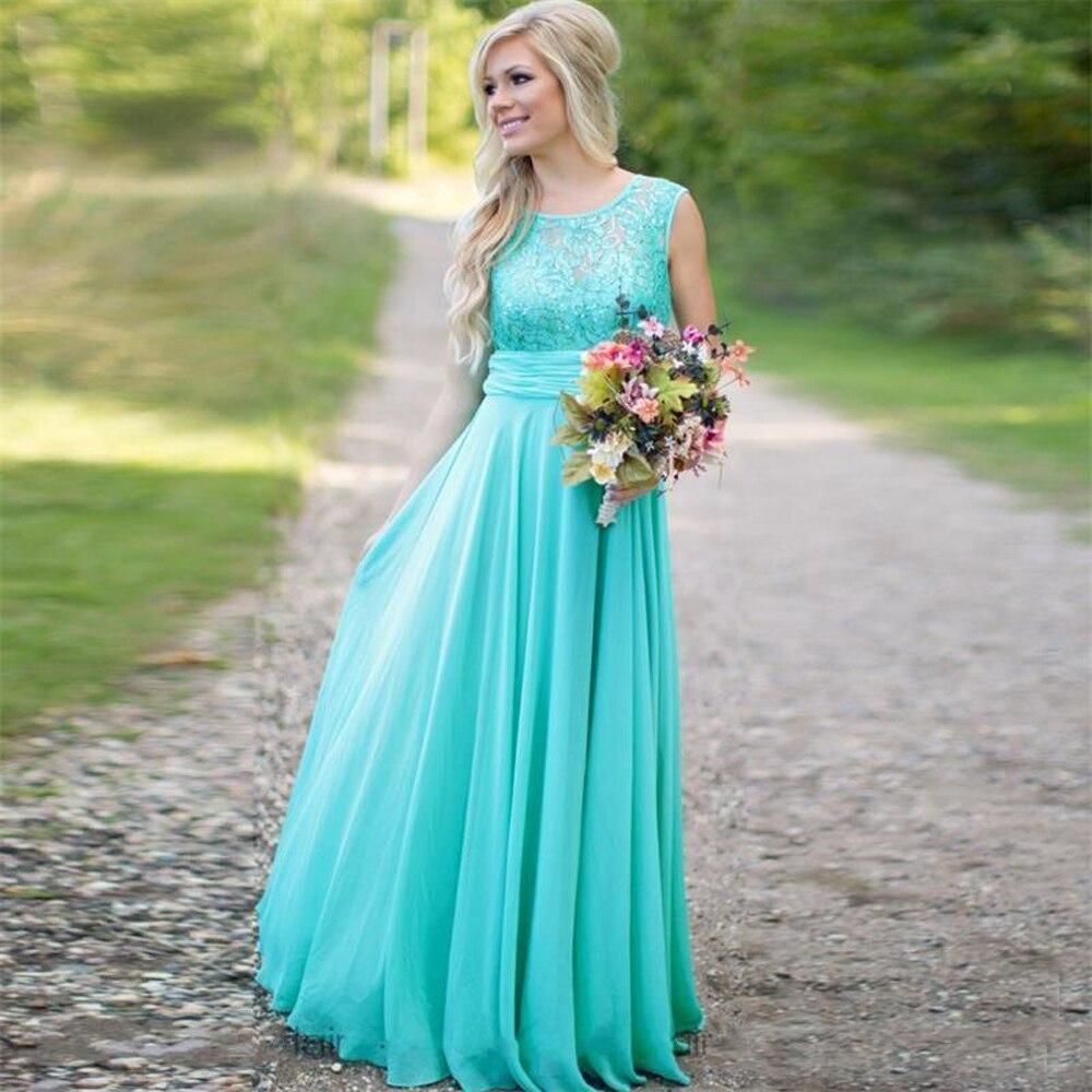 Aqua Turquoise Country Bohemian Lace Bridesmaid Dresses 2020 Cheap Long A Line Chiffon Wedding Guest Dresses