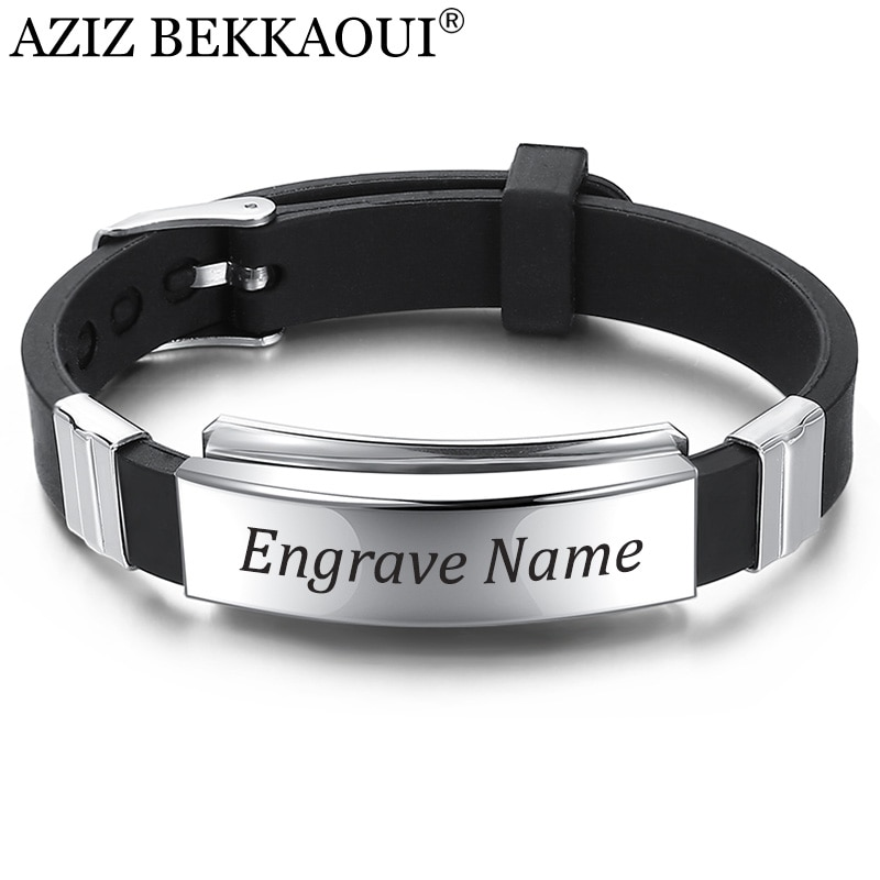 AZIZ BEKKAOUI Engrave Name Black Silicone Bracelet for Men Stainless Steel Leather Bracelets Fashion Punk Men Jewelry