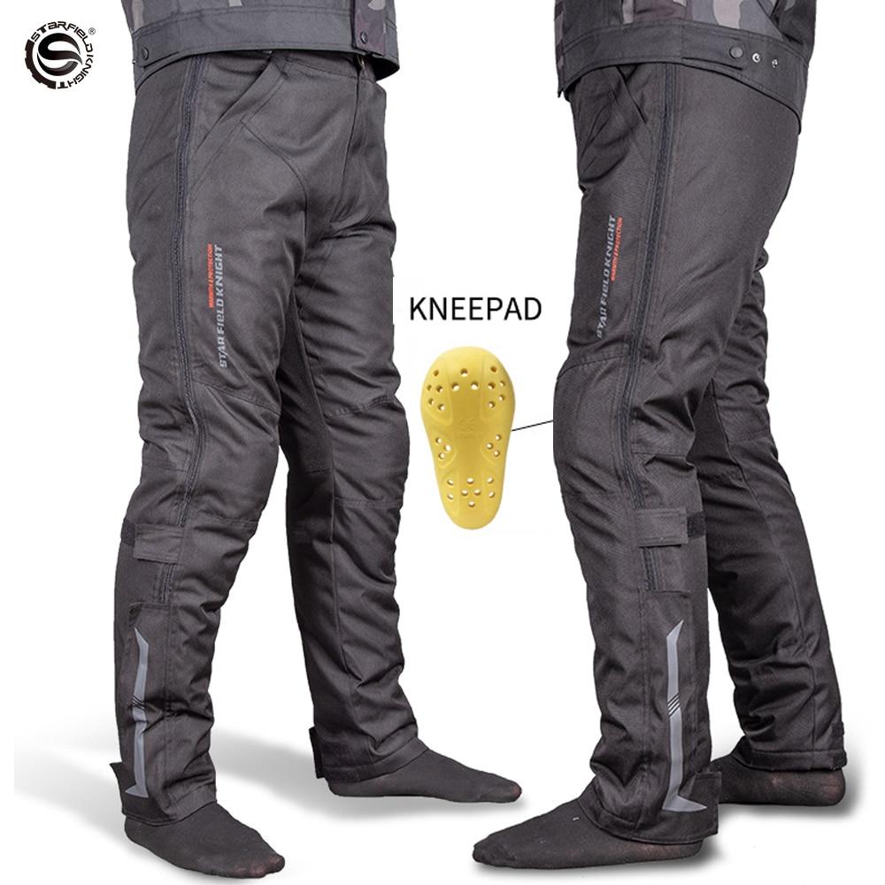 Pantalones de Moto impermeables con rodilleras para Hombre y mujer, pantalón largo...