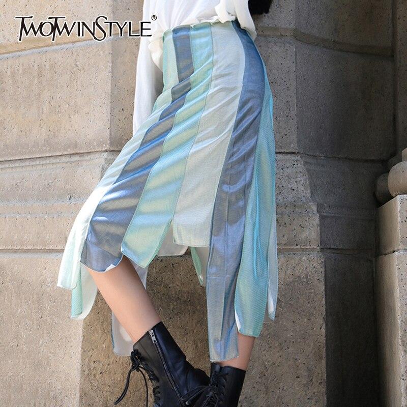 TWOTWINSTYLE Casual asimétrica Patchwork Hit Color faldas para las mujeres de alta cintura Irregular Hem falda femenina 2020 moda de verano