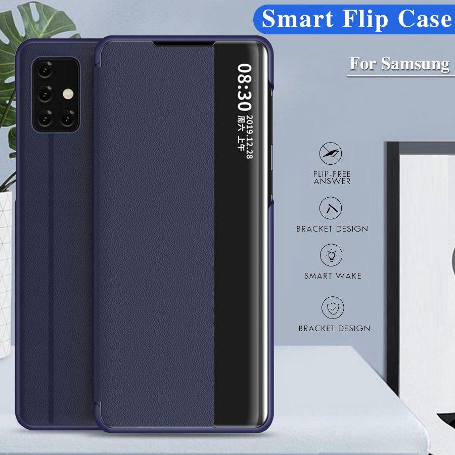 Funda de piel con vista inteligente para Samsung Galaxy A50, A51, A71, Note 10, 9, 8, S20, Ultra S10e, Lite, S8, S9 Plus, S7 edge, A7, A9, A6, J6, J4