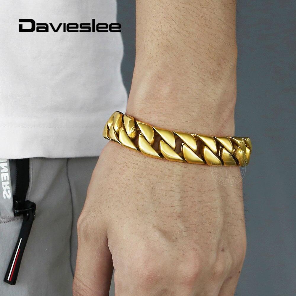 Davieslee-سوار 16 مللي متر للرجال ، 316L ، فولاذ مقاوم للصدأ ، منحني ثقيل ، سلسلة كوبية ، لون ذهبي ، مجوهرات ، 7-11 بوصة HB511