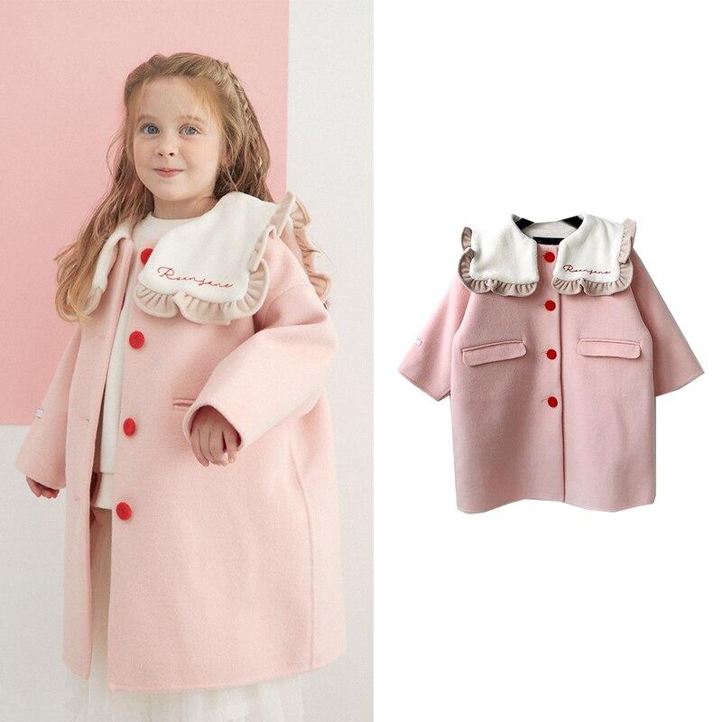 جديد الشتاء الاطفال معطف الصوف RJ العلامة التجارية الفتيات لطيف موضة خندق معطف الطفل الطفل ملابس خارجية معاطف الصوف معطف معطف