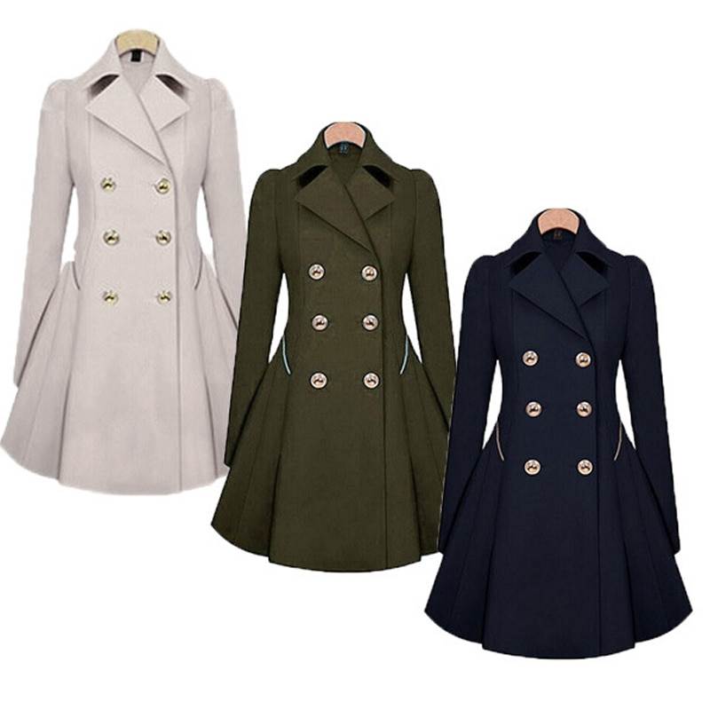 ZOGAA 2021 New Women Long Trench Coat Fashion Casual Double-Breasted Lapel Long To Knee Women's Tren
