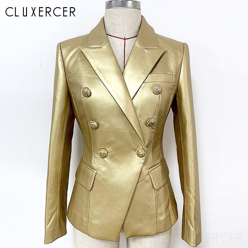Casacos de couro do plutônio feminino dourado manga longa duplo breasted casaco feminino 2019 outono moda turn down collar jaqueta do plutônio feminino