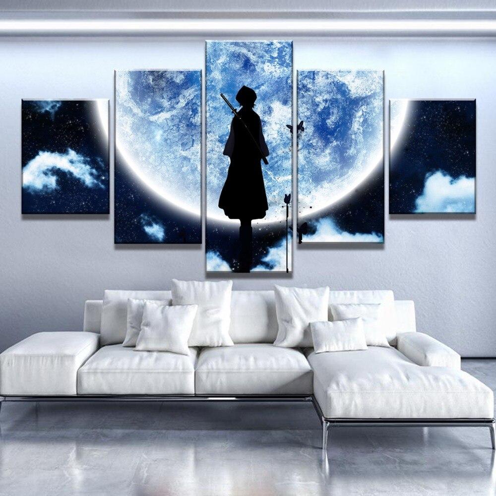 Pinturas en póster de dibujos animados de luna de lejía grande con estampado de 5 piezas de arte de lona, decoración para la pared, para la decoración de la habitación del hogar