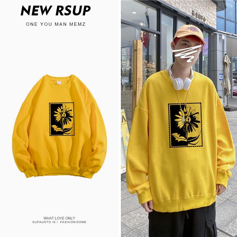 Plus Velvet round Neck Print Sweatshirt Male Loose Korean-style Autumn and Winter Trends Ins Leisure