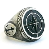 pirate compass pattern ring mens ring new fashion metal retro viking jewelry accessories party gift size 7 12