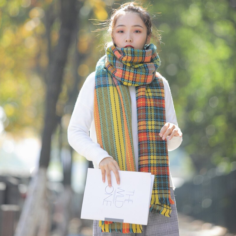 70*240cm Green Department Cashmere Scarf Ladies Japanese Autumn and Winter Thick Plaid Scarfs Shawl Luxury Brand