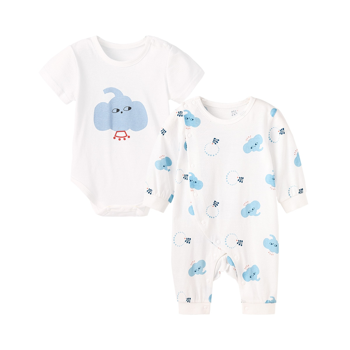 Pureborn 2 Pcs Baby Bodysuit Jumpsuit Cartoon Elephant Adorable Baby Boy Girl Clothes Breathable Cotton Summer Outfit