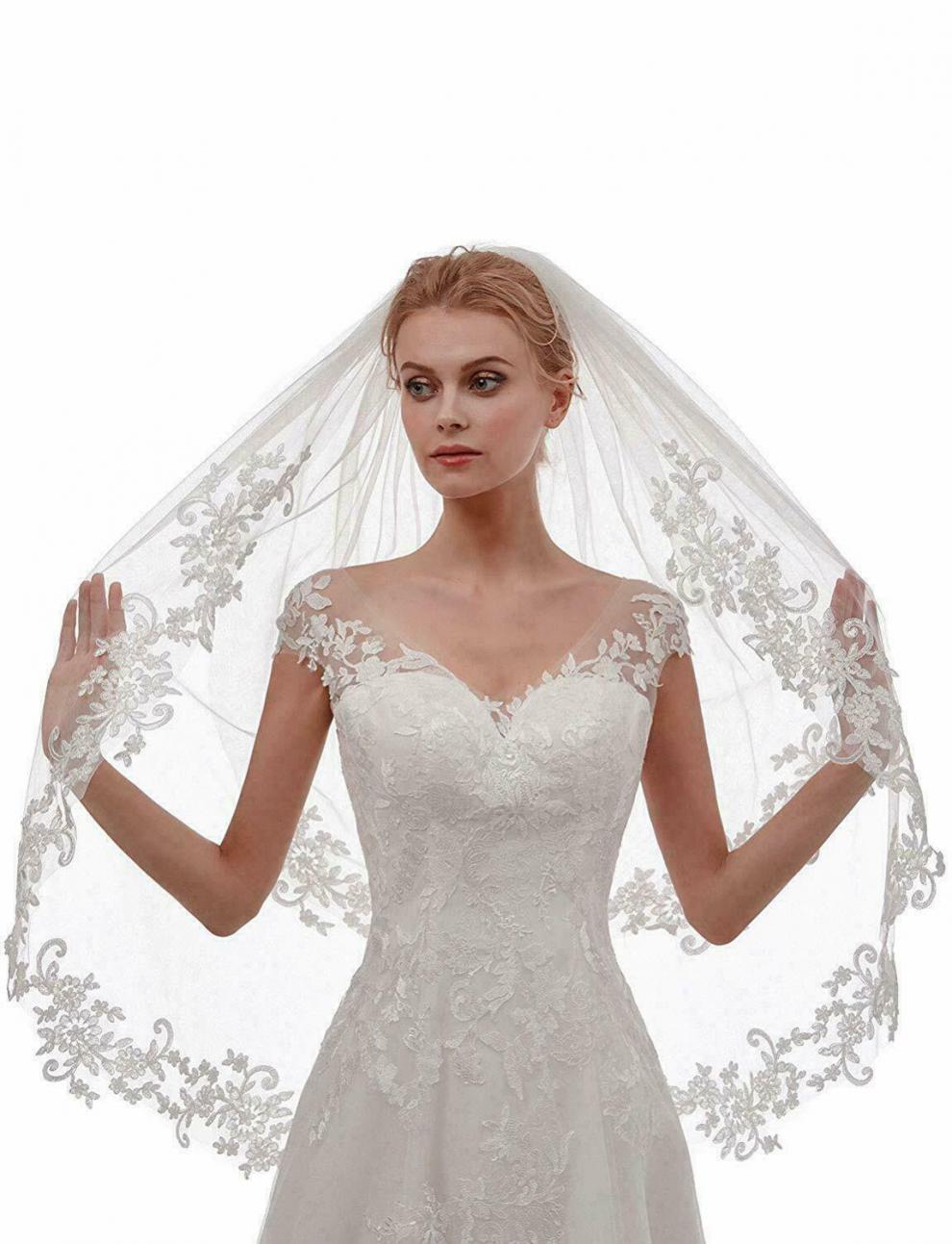 Short blanco marfil velo encaje borde 1 capa velos de boda Conjunto...