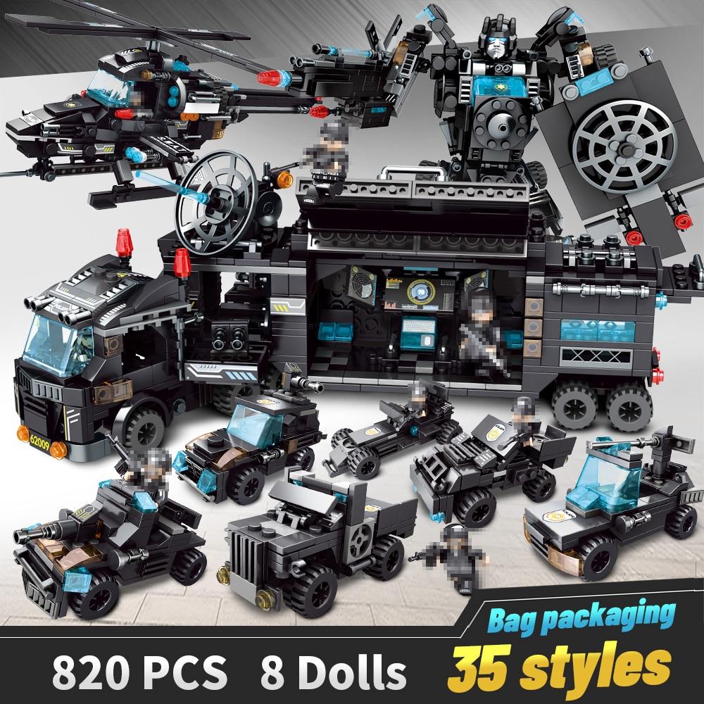 LegoINGlys строительные блоки РОБОТ городской полиции игрушки блоки мальчики автомобиль самолет развивающий грузовик блоки Совместимые модели...