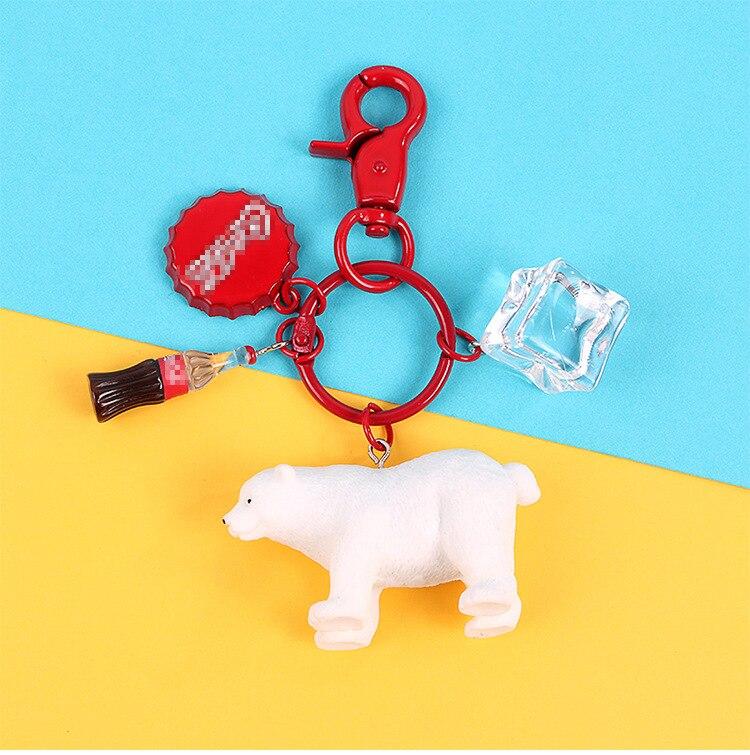 Брелок с полярным медведем, цепочка для ключей со льдом, подвеска в виде бутылки Колы, креативная ручная работа, автомобильная цепочка для к...
