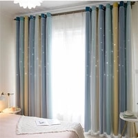 nordic style gradient stripes hollow stars blackout curtains for living room bedroom voile drapes blue gradient blackout curtain