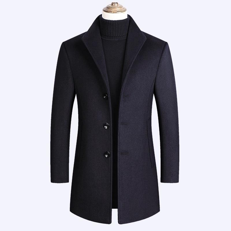 الخريف والشتاء جديد الرجال معطف الصوف الرجال التلبيب سترة واقية متوسطة طول زائد القطن معطف